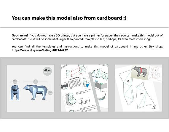 Bear 3d Model For 3d Printing Format Stl Etsy Low Poly 3d Models Stl 3d Printing