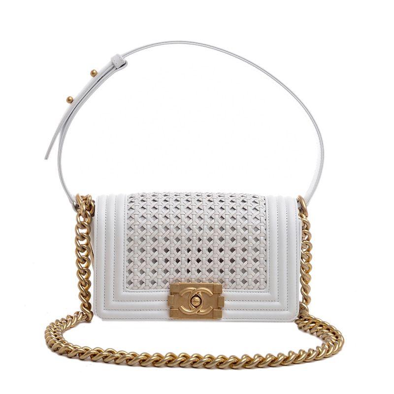 44ceb446c30f Chanel White Braided Reverso Boy Flap Bag Gold Hardware | Handbags &  clutches | Chanel boy bag, Chanel, Bags