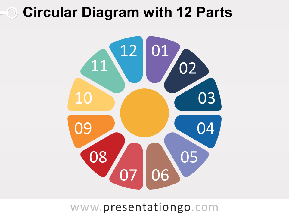 Circular Diagram With 12 Parts For Powerpoint