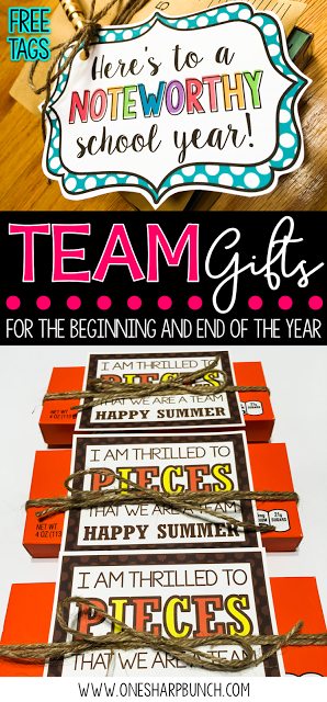 Gifts for the Beginning of the Year and End of the Year Get ready for back to school with these adorable team gifts!  Simply print the free gift tag, and you're coworker gifts will be all set!  Here's to a NOTEWORTHY school year that I'm sure your team will be thrilled to PIECES about!Get ready for back to school with these adorable team gifts!  Simply pr...