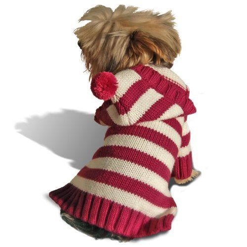 Size #10, Designer Dog Hoodie Sweater Sweatershirt, Burgundy Stripe, Casual  Stylish $14.99