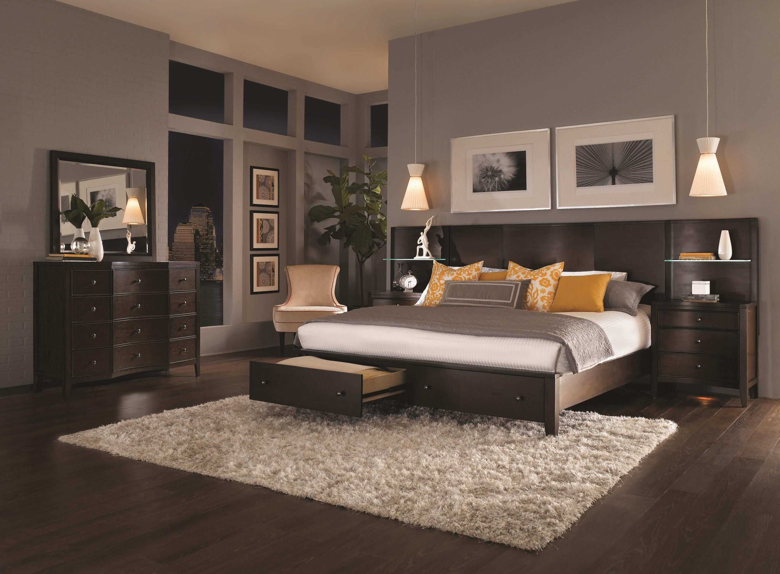 Aspenhome Contour Complete Curved Queen Panel Bed with Storage ...