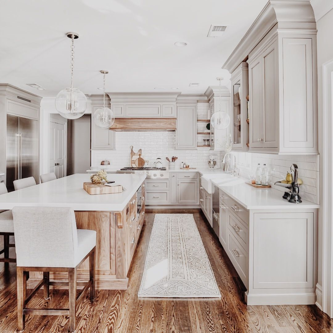 White Kitchen Cabinets Light Floor: Love The White Countertops On Top Of Light Wood Cabinets