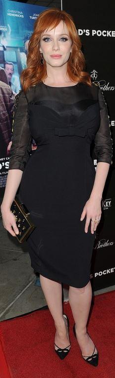 Who made Christina Hendricks' black long sleeve dress?
