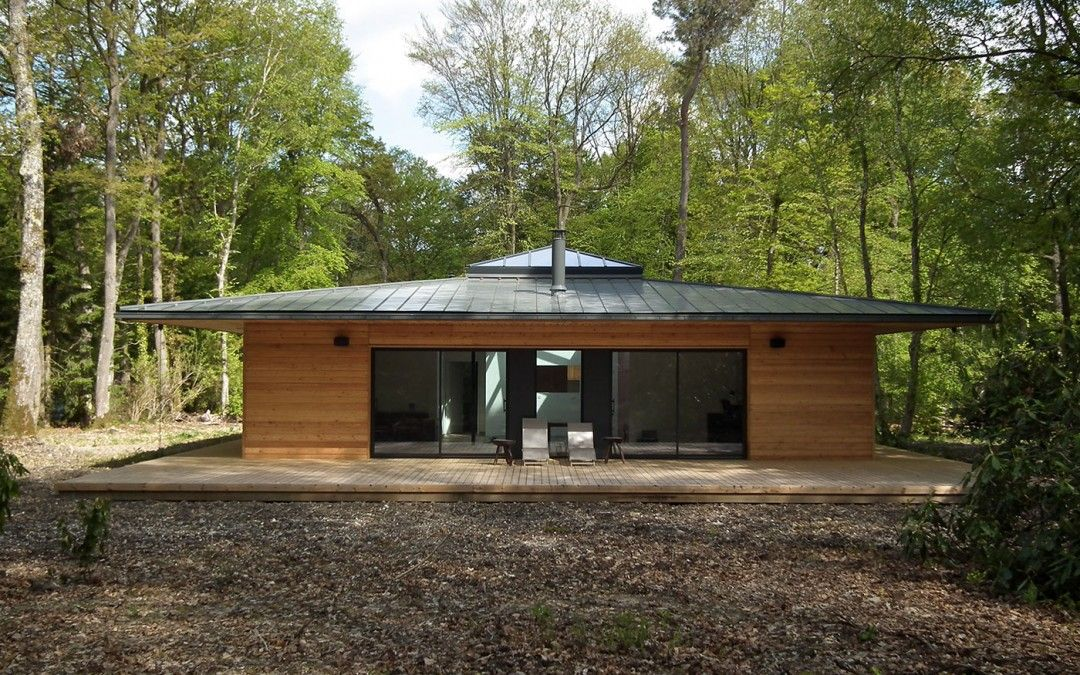 normandie : une maison à ossature bois carrée en pleine forêt par ... - Construire Sa Maison Ossature Bois Soi Meme