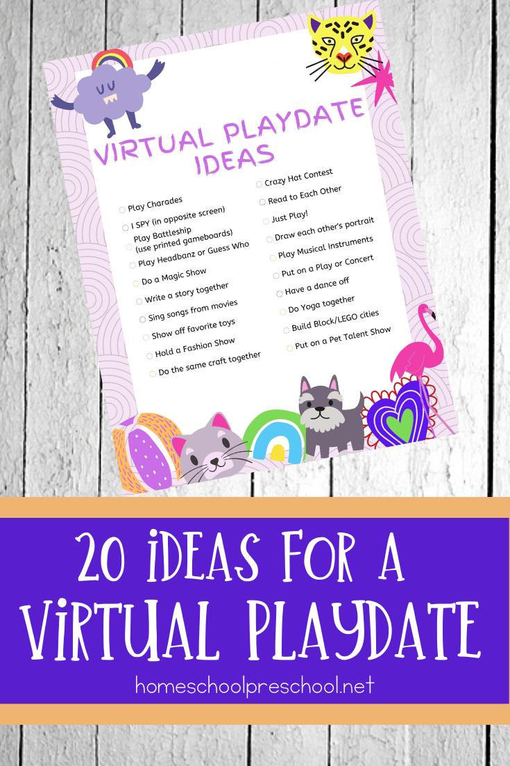 20 Creative Virtual Playdate Ideas For Kids Of All Ages Playdate Playdate Activities Free Preschool