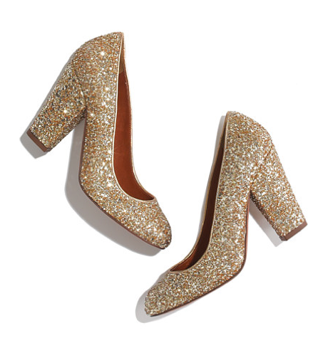 Gold Glitter pumps from #Madewell