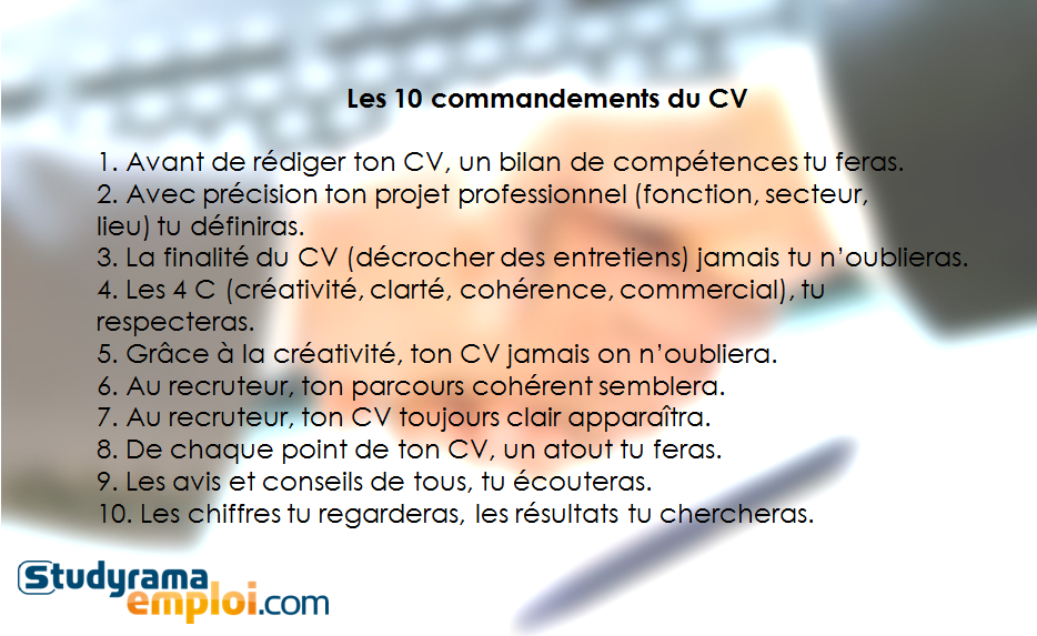 les 10 commandements du cv - conseils studyrama emploi   cv - lettre de motivation - stage
