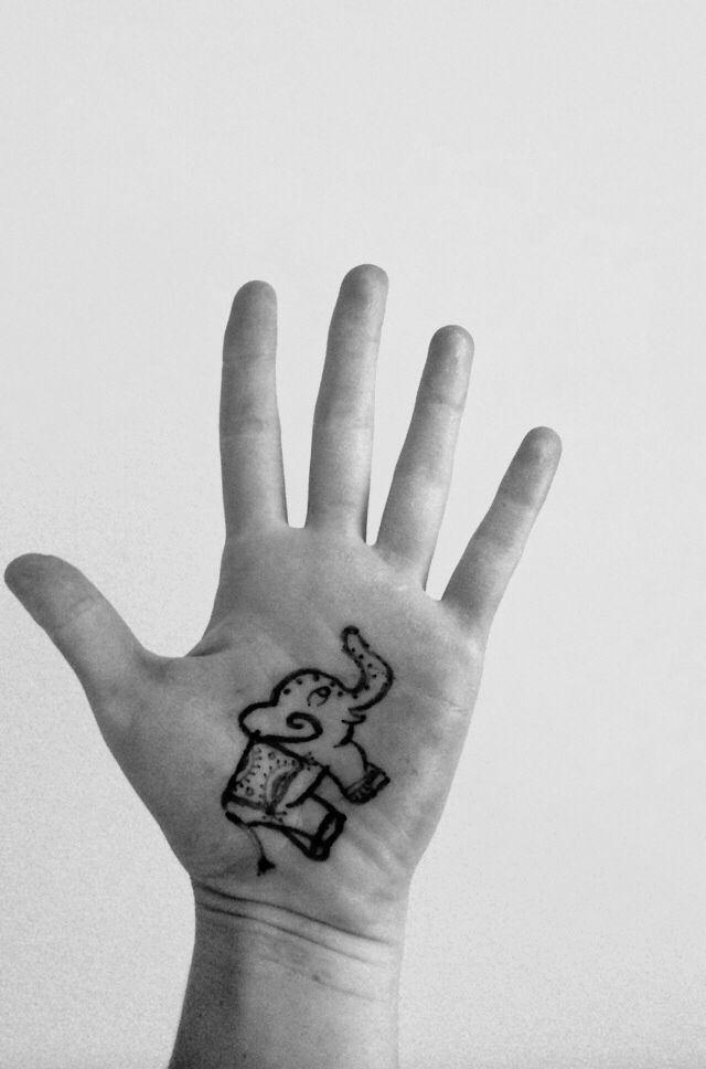 Photo of DIY elephant tattoo. Draw with sharpie. Put baby powder on. Then hairspray. Last…