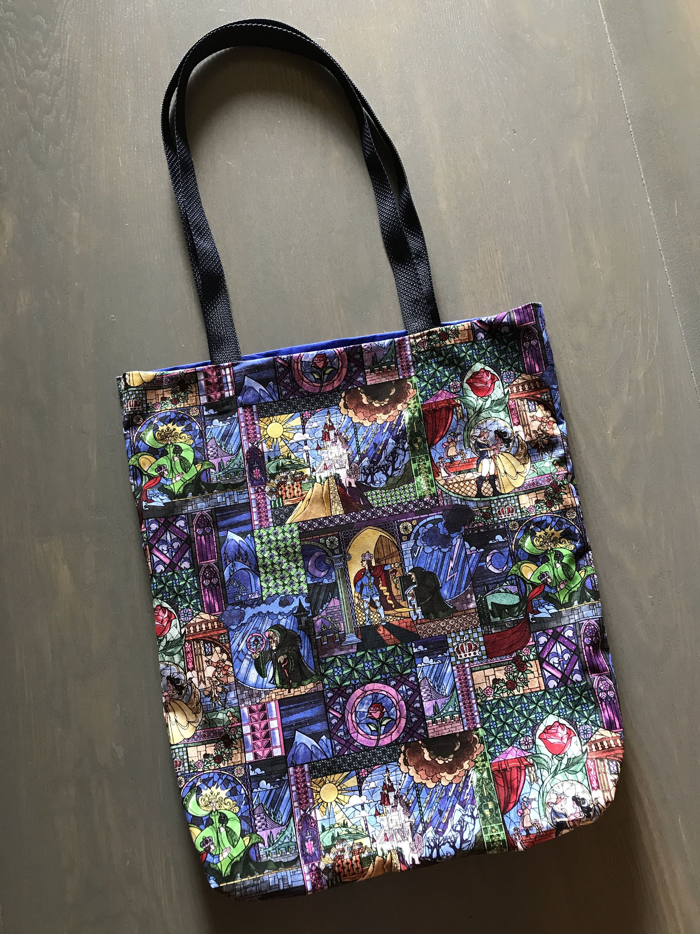 Disney beauty and the beast inspired tote bag travel bag
