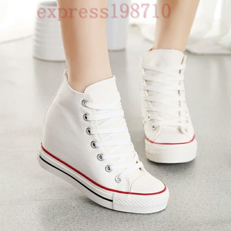 Womens Hidden Wedge Canvas High-Top Lace Up Platform Sneakers Creepers Shoes SZ