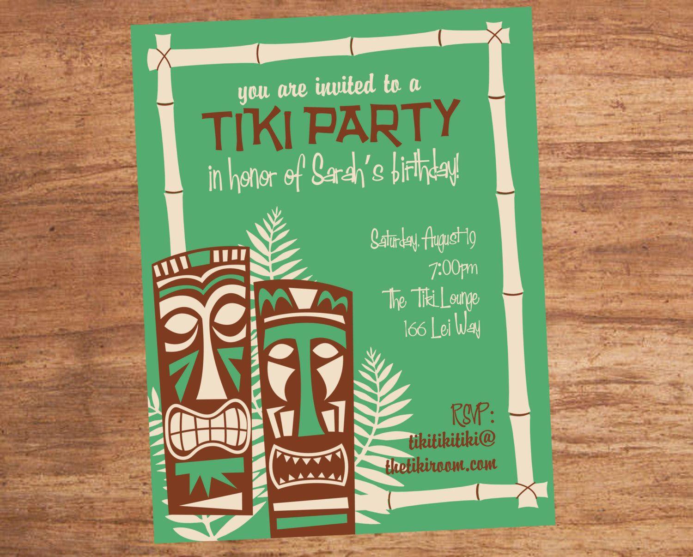 tiki party invitation wedding ideas pinterest tiki party