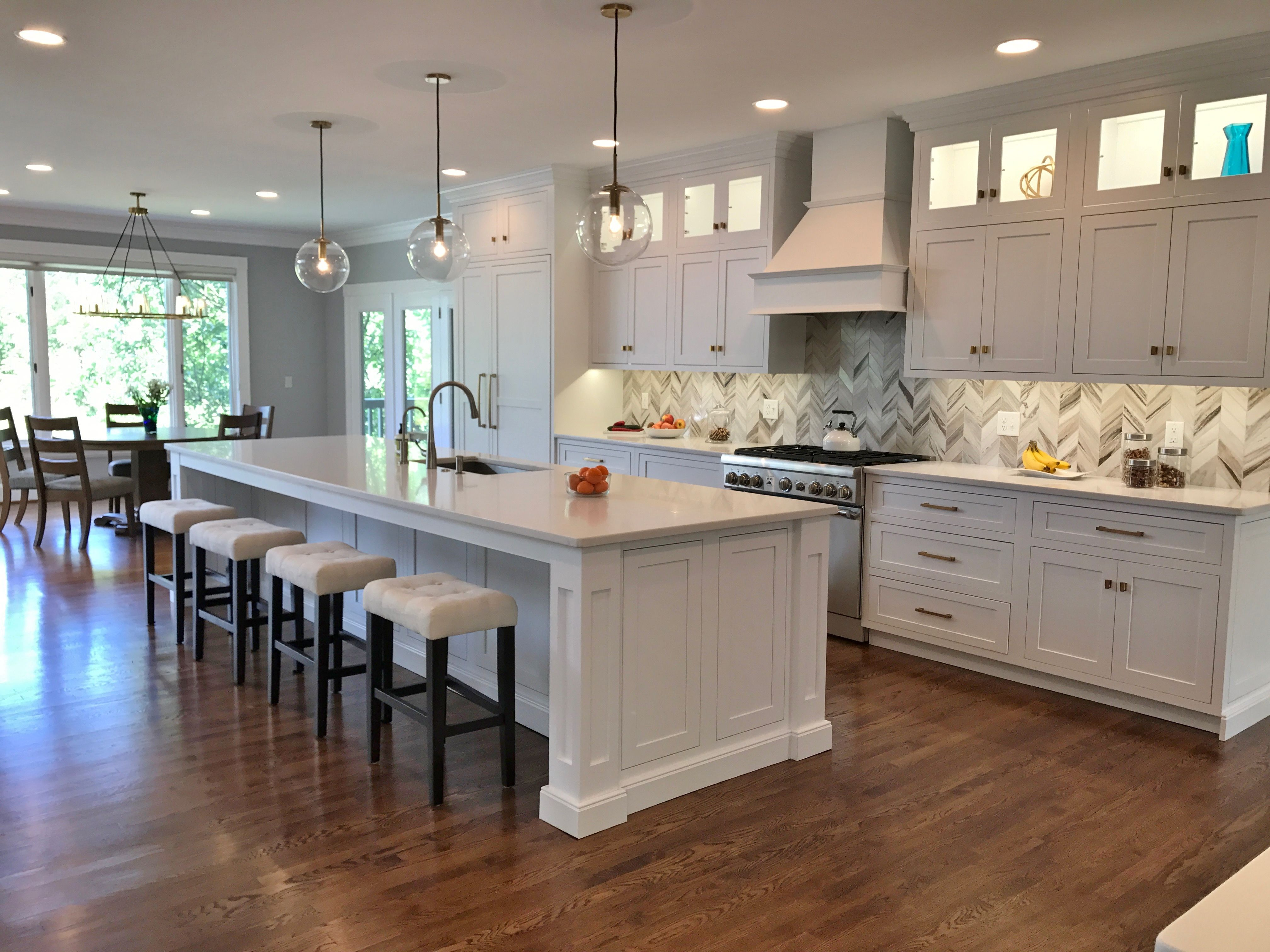 Kitchen Remodel By The Finn Team In Cincinnati Restoration Hardware Light Fixtures White Inset Shiloh Cabinets Refinished Hardwood Floors Gold