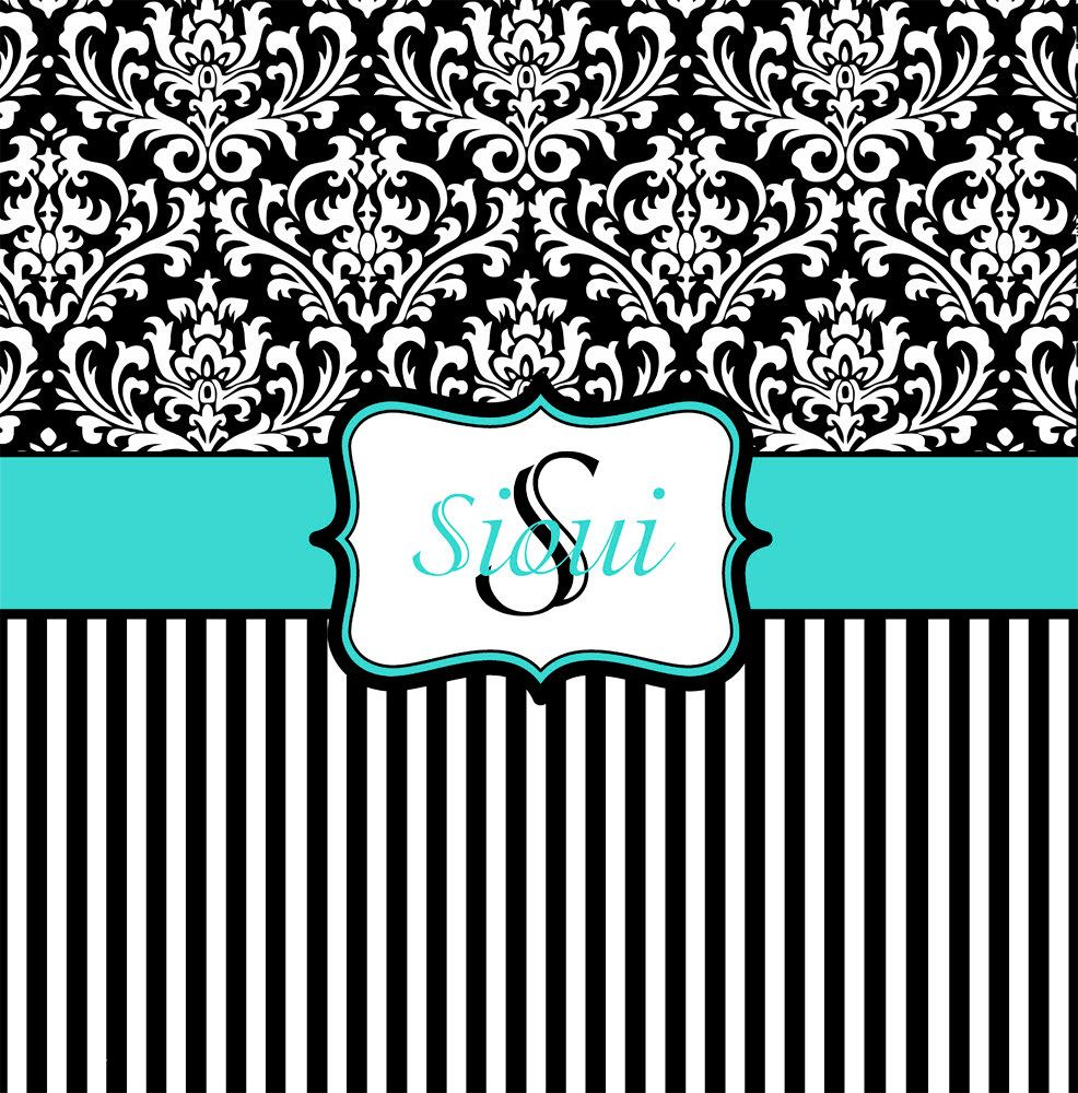 Teal and black shower curtain - Tiffany Blue Black And White Damask Shower Curtain Monogrammed Shower Curtain Custom Shower