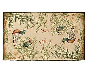 Tappeto Aubusson in lana a mezzo punto Giunchi 92x153 cm