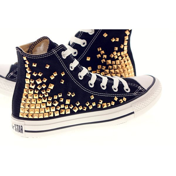 Studded Converse, Converse High Top with Gold Pyramid studs