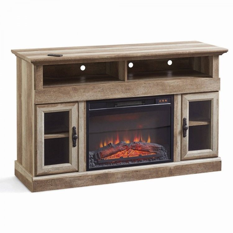 Tv Entertainment Center Fireplace Rustic Heater Media Storage