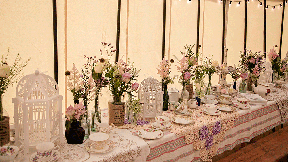 Delicate Birdcage Lanterns Add To A 1940s Style Afternoon Tea