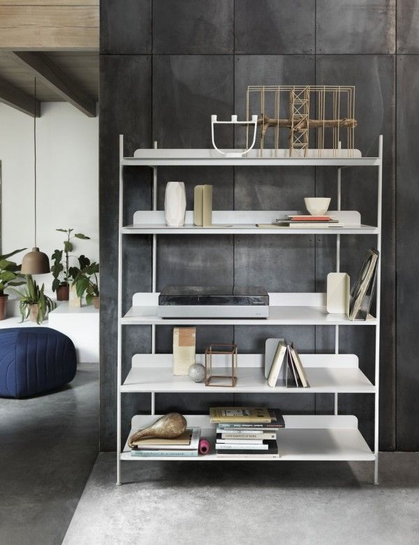 A Contemporary Take On The Classic Shelving System Compile Consists Of A Shelf And Three Heights Of Dividing Tubes A Shelving Scandinavian Shelves Home Decor