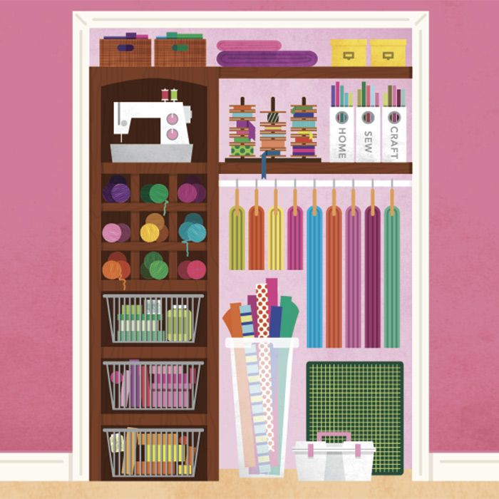 Illustrated Closet For Craft Supplies · Organizing IdeasHouse ...