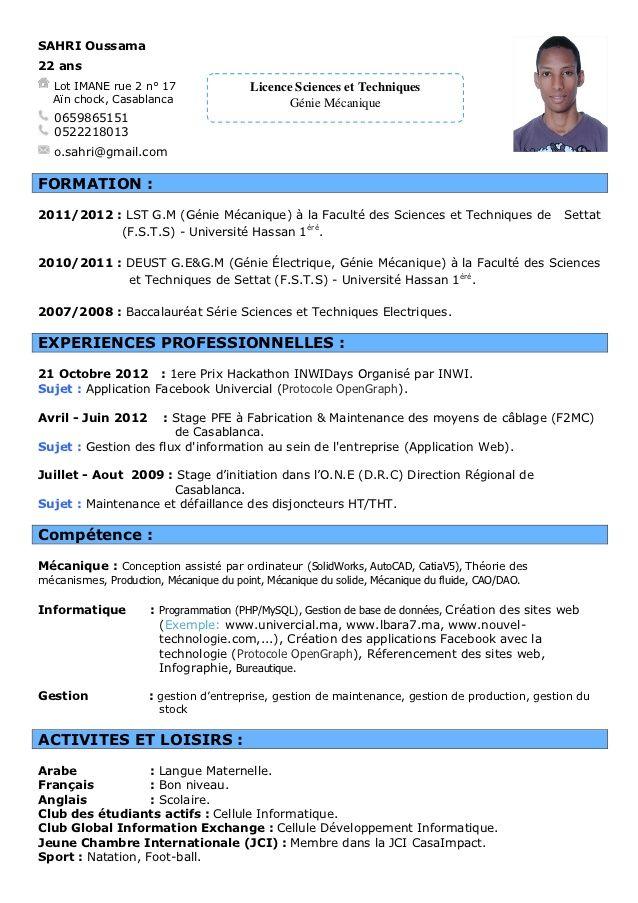 Exemple Cv Francais Informatique Cv Words Standard Cv Format Standard Cv