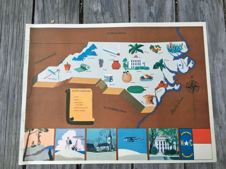 North Carolina Map Art State Art