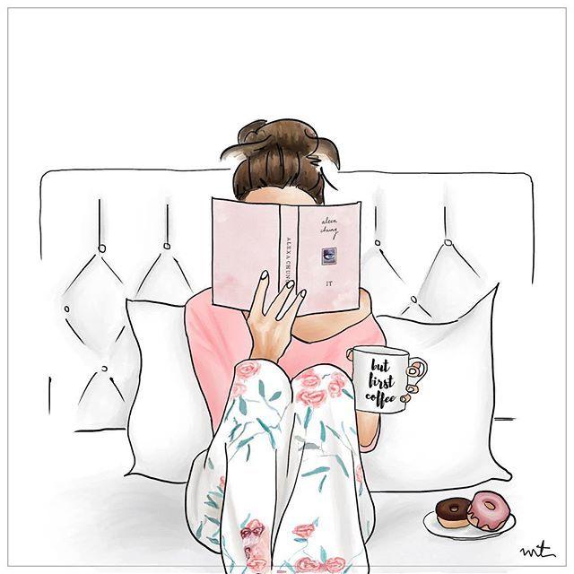 """Photo of Maja Tomljanovic auf Instagram: """"Es wird ein fauler Sonntag. . #Sonntag #Morgen #Schlaf #Lesen #Chungalexa #Es #Bücher #Lesen im Bett #Kaffee #Doughnut # Schlafzimmer… """""""