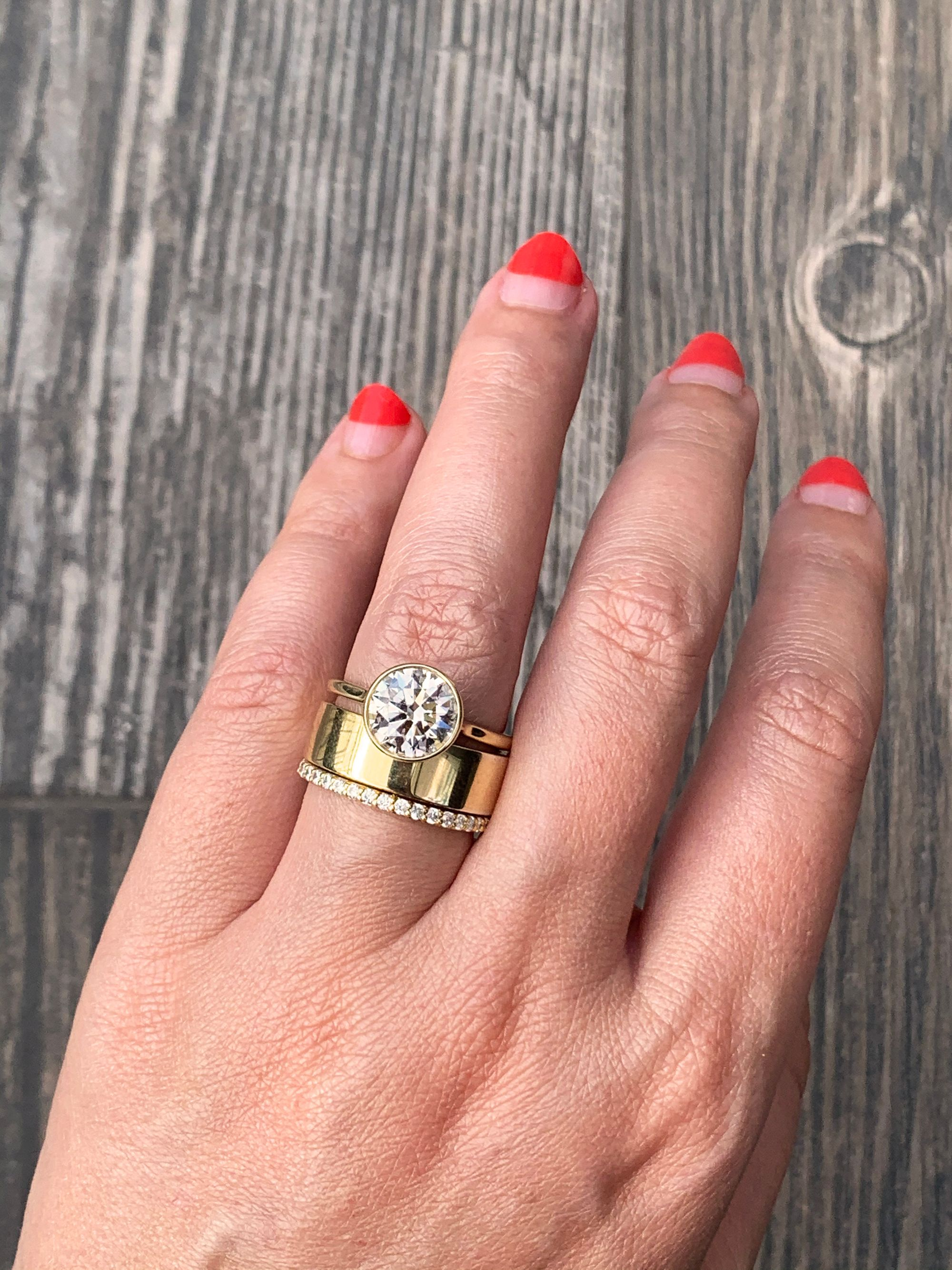 The Perfect Chunky Wedding Band Square Band Bezel Set Engagement Ring Rings