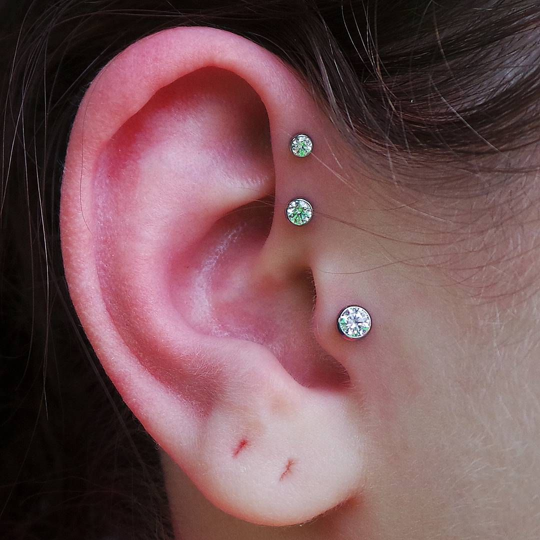 Double Forward Helix And Tragus Piercings From Last Week Using