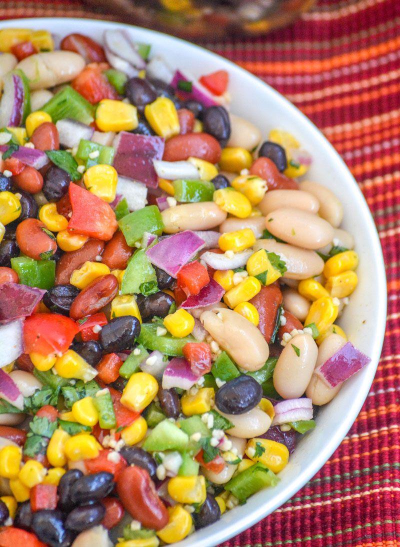 Mexican Three Bean Salad 4 Sons R Us Recipe Bean Salad Recipes Mexican Bean Salad Bean Salad