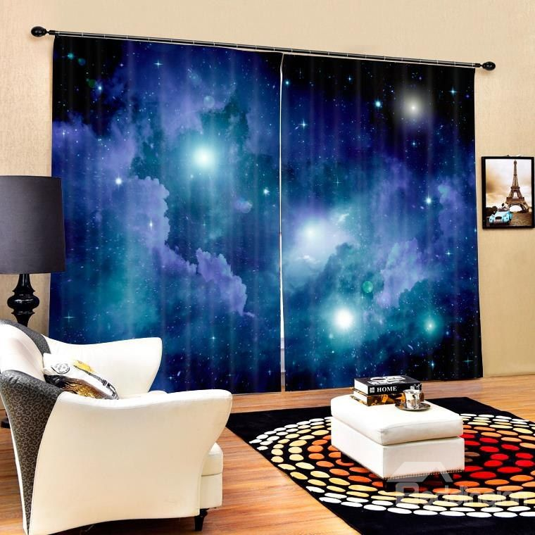 3d brilliant night sky galaxy printed 2 panels living room polyester curtain - Sky Wohnzimmer Umbau