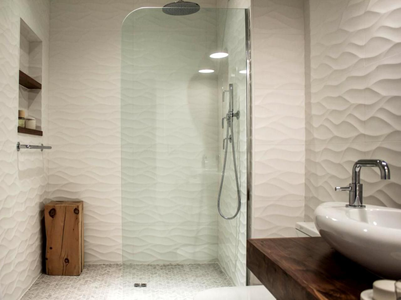Beau HOME DECOR BATHROOM REMODEL: Use Three Dimensional Tiles To Add Texture To  A Flat Space. These Tiles Come In Organic Waves As Well As Symmetrical  Patterns.