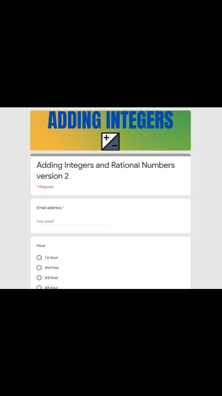 Adding Integers Digital Quiz Video Adding Integers Google Forms Math Resources Quizizz adding and subtracting