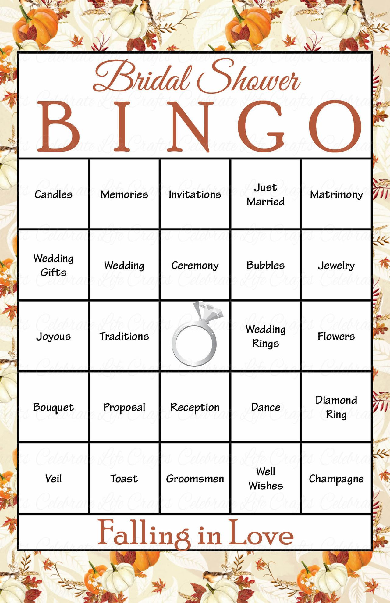30 Falling in Love Bridal Bingo Cards - Fall Bridal Shower ...