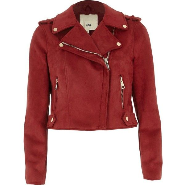8759bf3f5 River Island Petite bugundy faux suede biker jacket ($120) ❤ liked ...