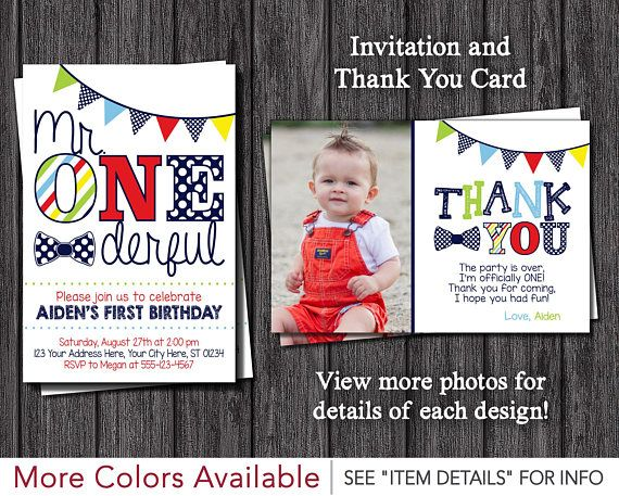 Mr ONEderful Birthday Invitation And Thank You Card One Derful Party By