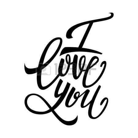 I love you handwritten text Valentine s Day brush pen lettering vector illustration Stock Vector