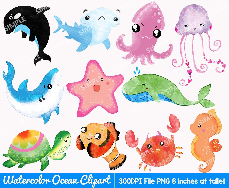 Sea Animals Watercolor Clip Art Ocean Seaweed Underwater Colorful Ocean Ocean Clip Art Watercolor Oc Watercolor Animals Art Drawings Simple Watercolor Ocean