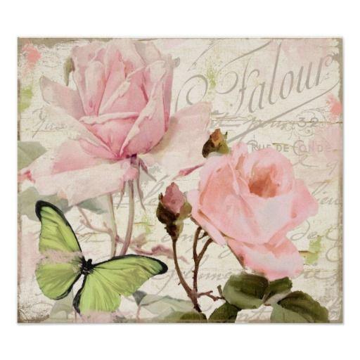 Rosas del rosa de cabaña y vintage lamentables de  posters