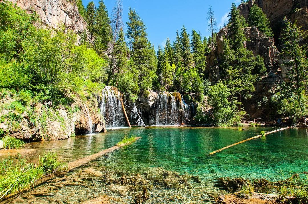 Turquoise Waters Waterfall Mountains River Lake Sky Reflection Forest Trees Summer Landscape Nature Nature Pictures Landscape Photography Landscape