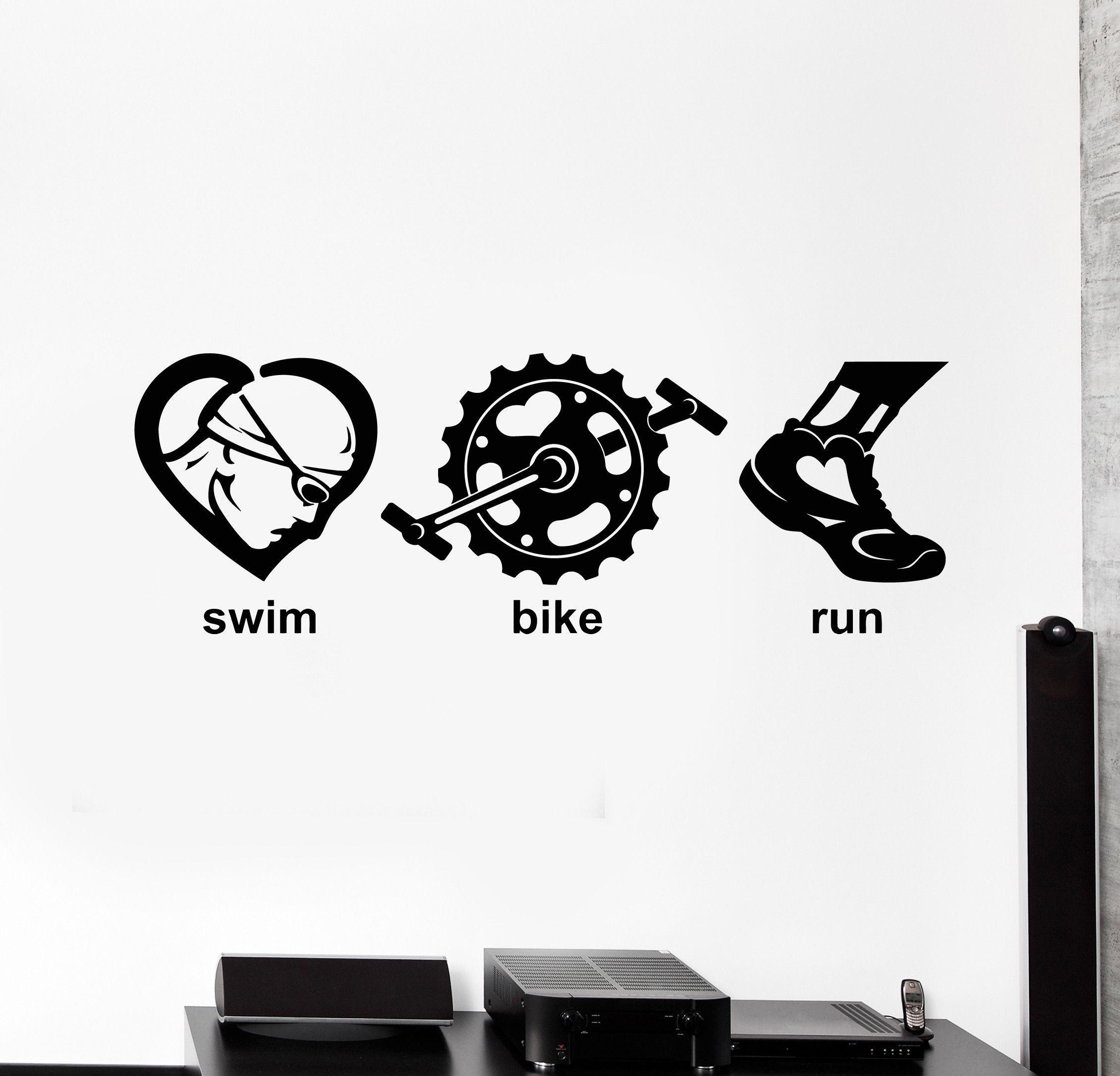 Triathlon SWIM BIKE RUN Abstract Window Decal Autocollant-Graphics