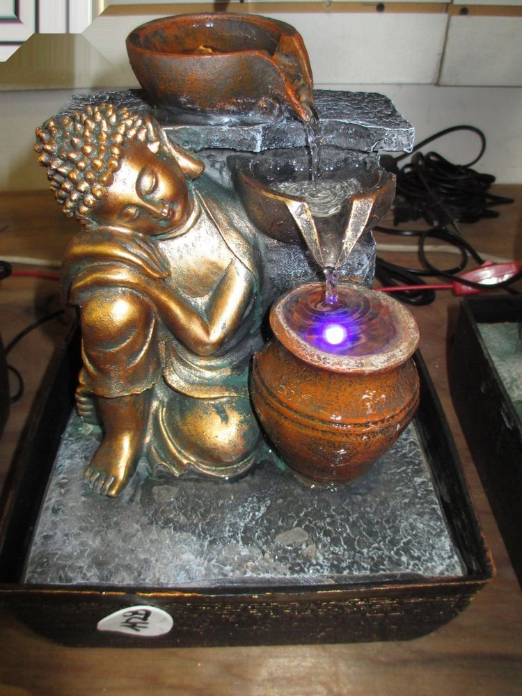 Buddha Indoor Tabletop Water Fountain Feng Shui Resin Brown Black ...