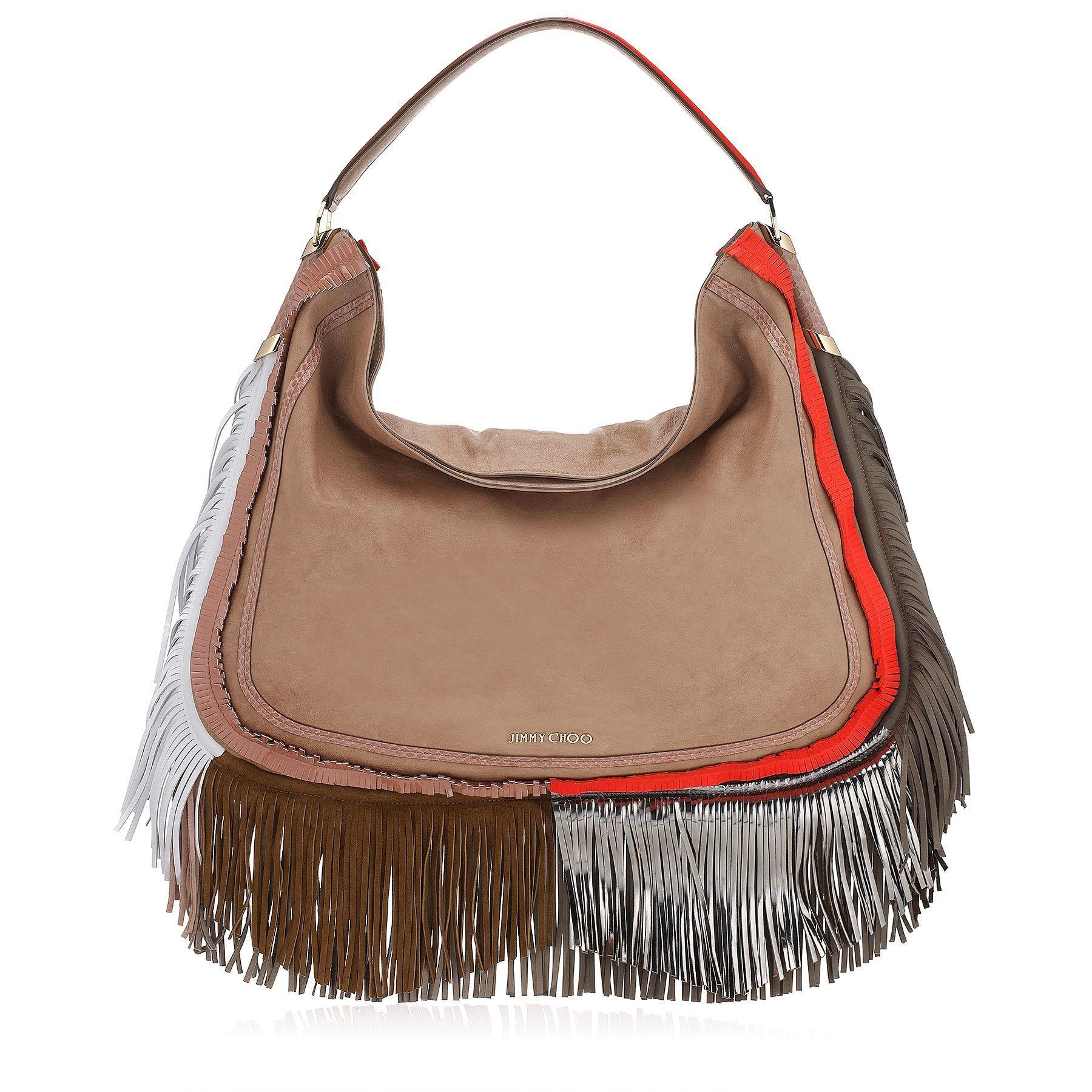 Jimmy Choo Zoe Bag - Terracotta Mix Satin Leather with Mixed Fringe and Elaphe Shoulder Bag
