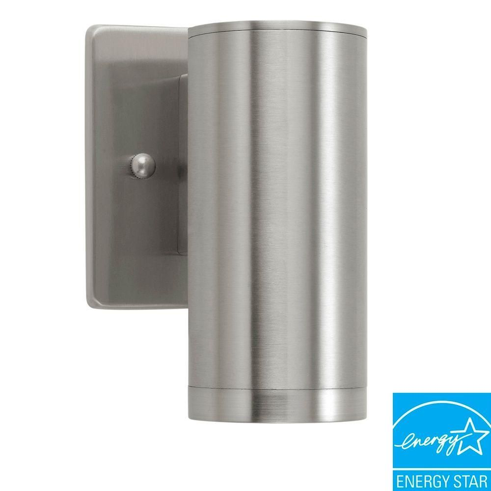 Eglo Riga 1 Light Stainless Steel Outdoor Wall Mount Cylinder Wall Lantern Sconce 200024a The Home Depot Outdoor Sconces Cylinder Lights Led Wall Sconce