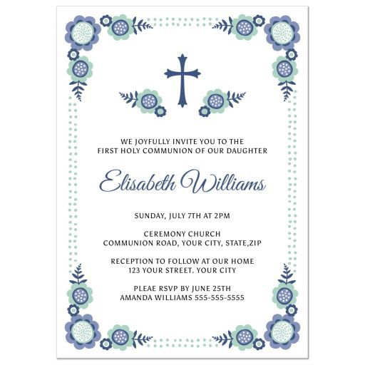 Blue bloom First Holy Communion invitation with cute flower corners - invitation templates holy communion