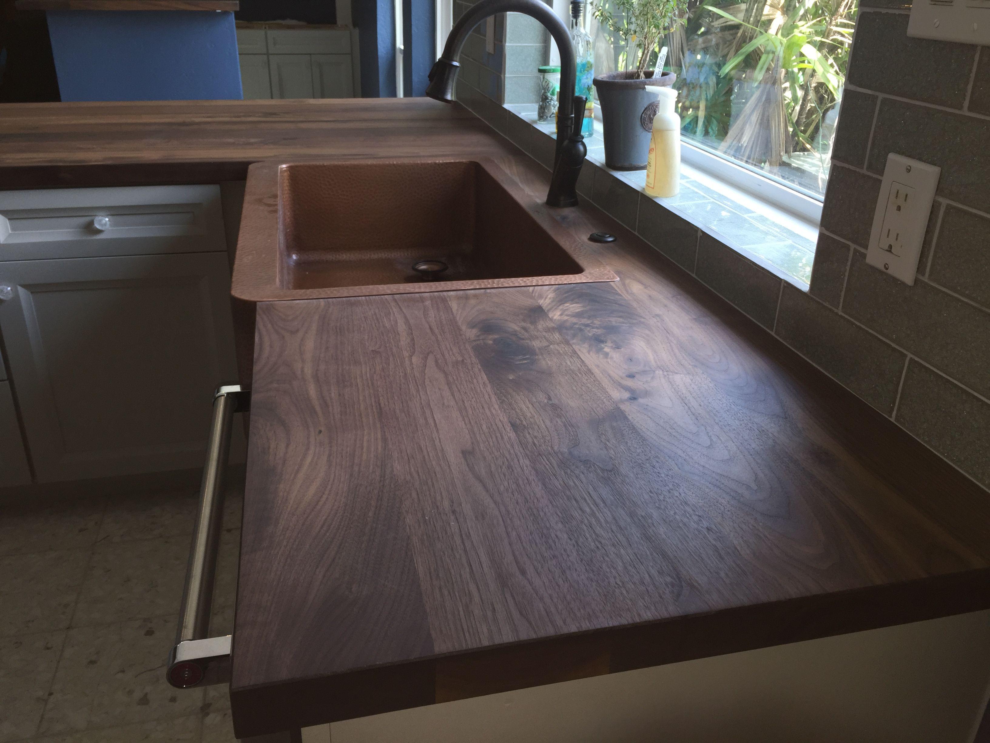 Walnut Face Grain Countertop With Copper Sink Copper Kitchen