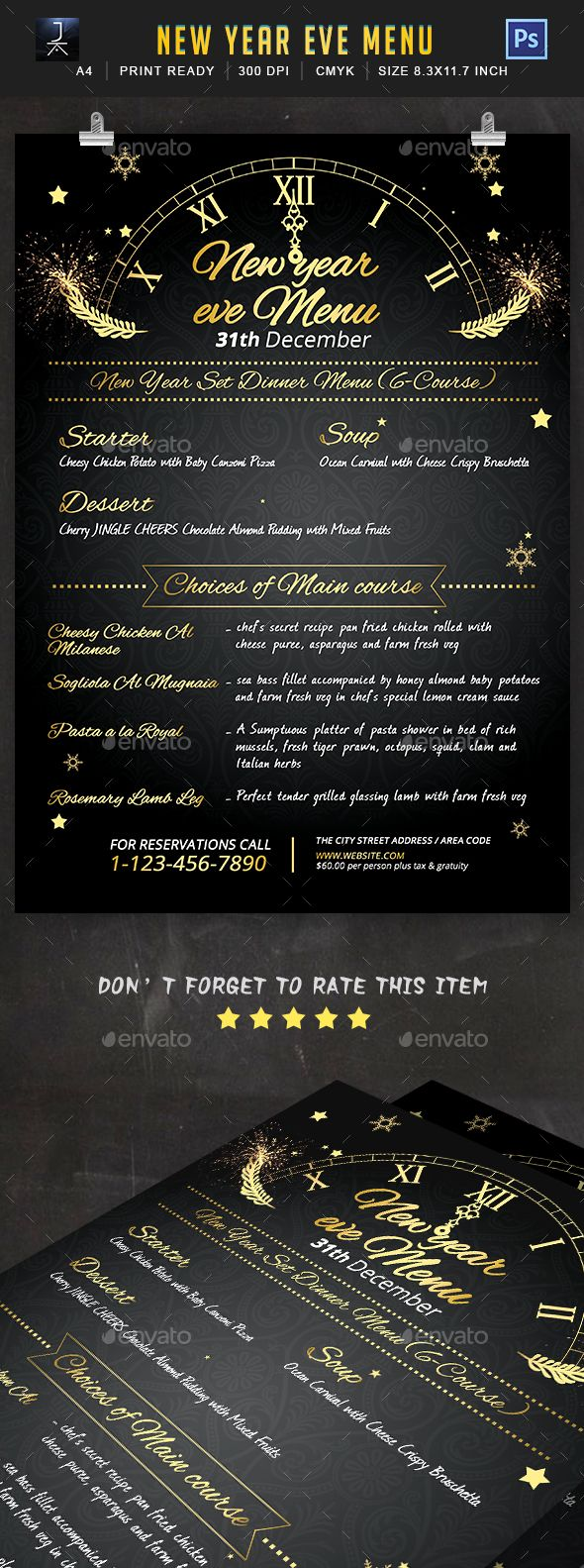 new year eve menu template psd
