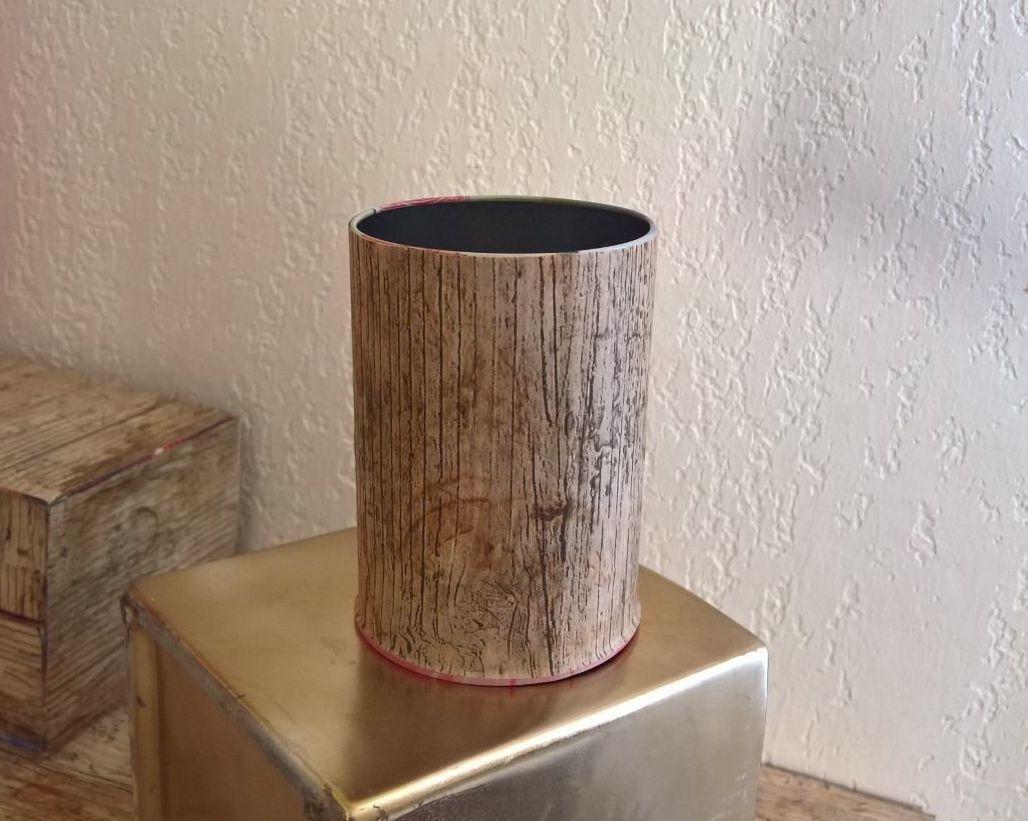 Pot a crayons stylo bureau metal et papier plastifie effet bois
