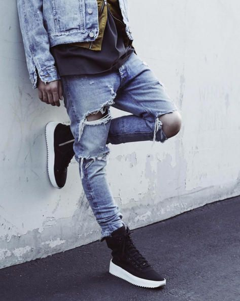 Fear Of God S Jerry Lorenzo Previews The Label S 2016 Debut Sneaker Streetwear Outfit Denim Jeans Ripped Streetwear Fashion