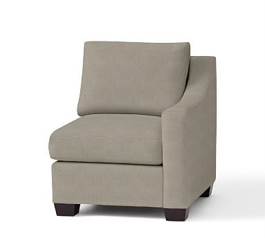 York Slope Arm Upholstered Right-arm Chair, Down Blend Wrapped Cushions, Textured Twill Silver Taupe